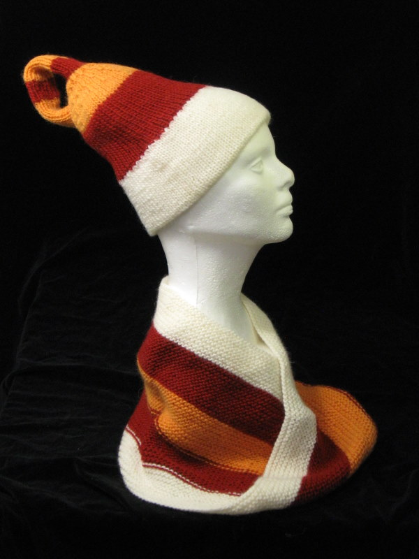 Red_Orange_White_Hat_Scarf_on_Foam_Head_1