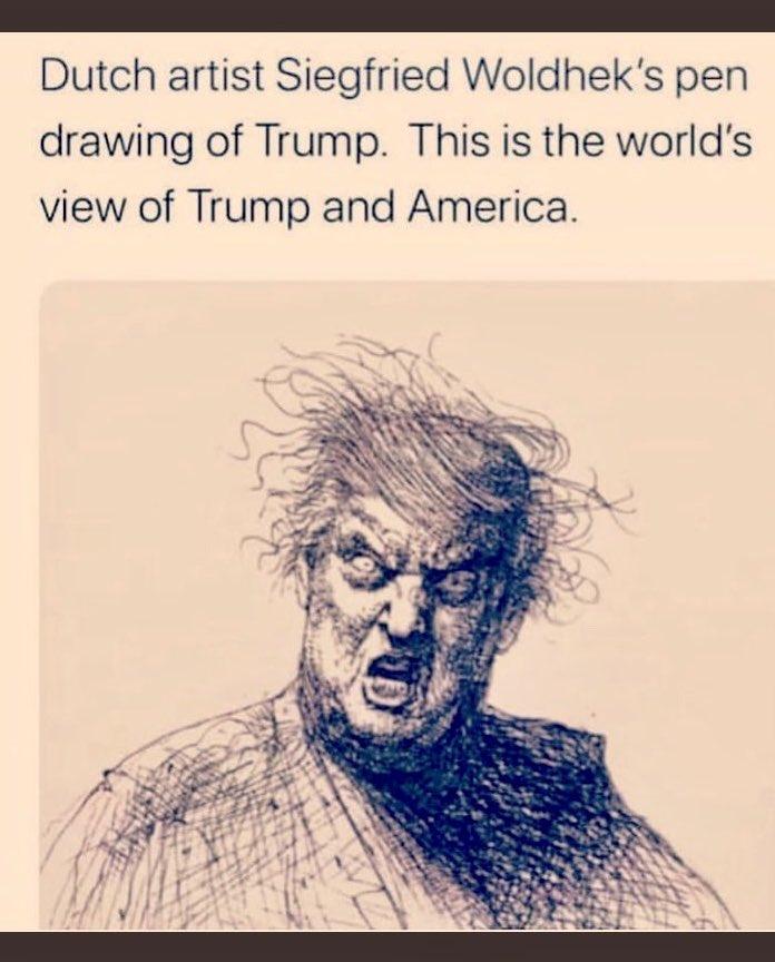 Pen sketch of Trump